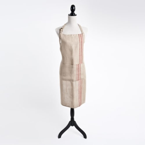SARO 1004.R01 Striped Design Apron - Red Perspective: front