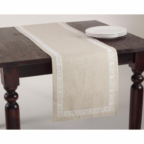 SARO 71510.W1670B 16 x 70 in. Calypso Rectangular Stitched Greek Key Design Table Runner - Wh Perspective: front