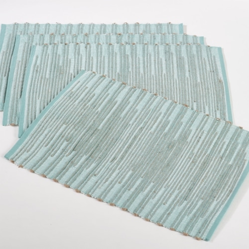 Saro Lifestyle 11735.A1319B 13 x 19in. Darya Rectangle Ribbed Design Placemat, Aqua Set of 4 Perspective: front