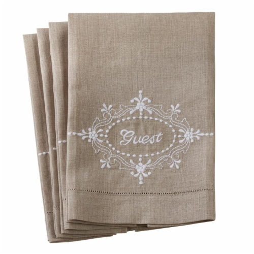Saro Lifestyle 15068.N1422 14 x 22 in. Embroidered Hemstitch Towel - Natural, Set of 4 Perspective: front