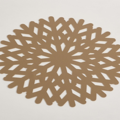 Saro Lifestyle 8001.GL15R 15 in. Round Snowflake Design Placemat - Gold, Set of 4 Perspective: front