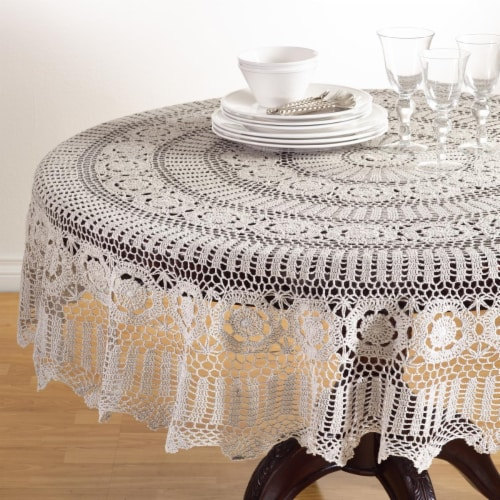 Saro Lifestyle 869.GY72R 72 in. Round Handmade Crochet Cotton Lace Table Linens - Grey Perspective: front