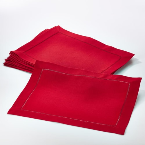Saro Lifestyle 14 x 20 in. Rectangle Classic Hemstitch Border Placemat, Red - Set Perspective: front