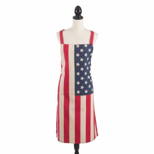 SARO 5010.M01 28 x 35 in. Star Spangled US Flag Design Kitchen Apron  Multi Color Perspective: front
