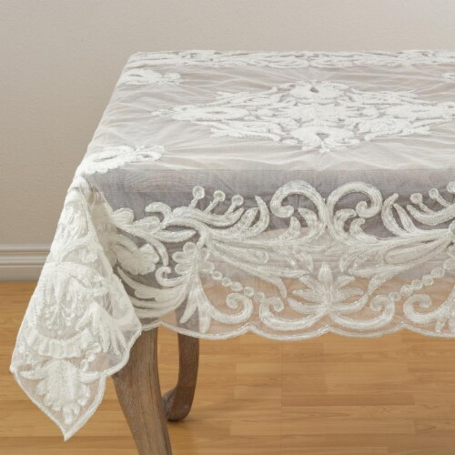 SARO AN02.I54S 54 in. Square Alessandra Beaded Embroidered Scalloped Table Topper  Ivory Perspective: front