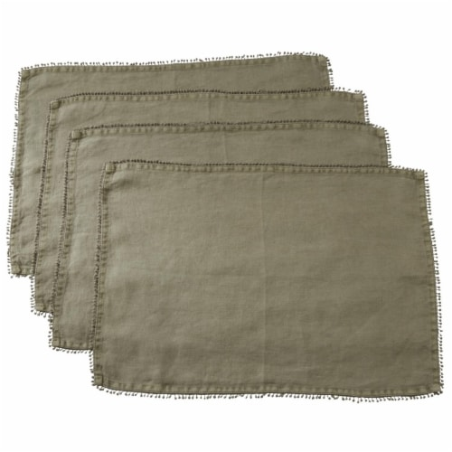 Saro Lifestyle 14 x 20 in. Rectangle Pompom Design Placemat, Olive - Set of 4 Perspective: front