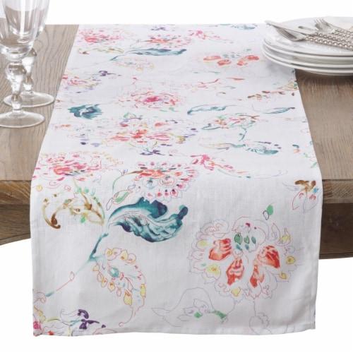 SARO 13010.W1672B 16 x 72 in. Rectangle Primavera Swirled Spectrum Linen Table Runner  White Perspective: front