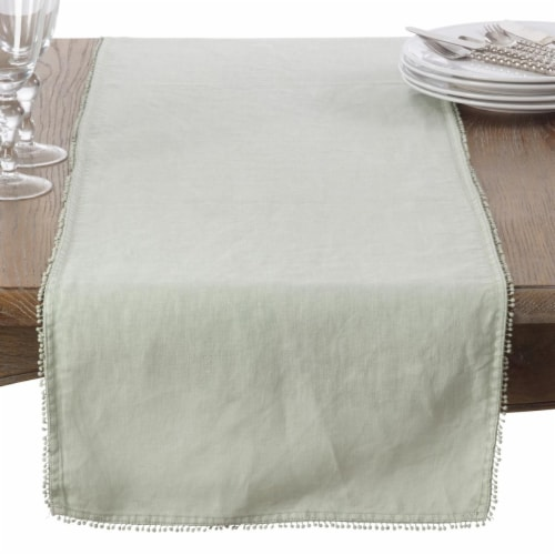 SARO 15062.CE1420B 14 x 20 in. Rectangle Pompom Design Placemat  Celery - Set of 4 Perspective: front