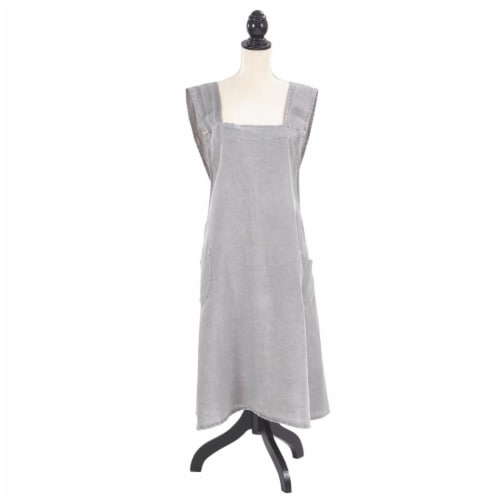 SARO 1059.PW01 Front Two Pocket Crossback Linen Apron  Pewter Perspective: front