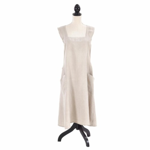 SARO 1059.T01 Front Two Pocket Crossback Linen Apron  Taupe Perspective: front