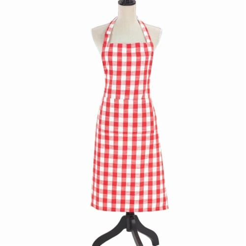 Saro Lifestyle 1029.R2436 24 x 36 in. Cotton Apron with Gingham Design, Red Perspective: front