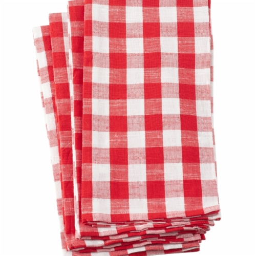 Saro Lifestyle 1029.R2028 20 x 28 in. Gingham Plaid Check Design Cotton Kitchen Towel, Red - Perspective: front