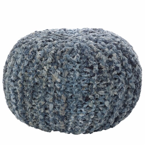 Saro Lifestyle PU283.NB Denim Twisted Rope Pouf Ottoman, Natural Perspective: front