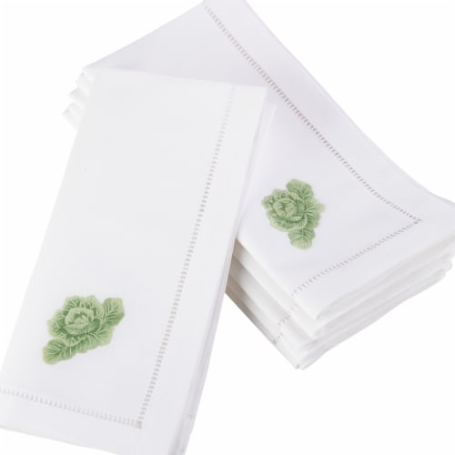 SARO NM115.W20S 20 in. Square Embroidered Cabbage Design Hemstitched Border set of 6 Perspective: front