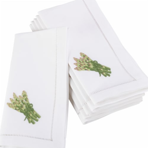 Saro Lifestyle 20 in. Square Embroidered Asparagus Design Hemstitched Border Napkins - 6 Perspective: front