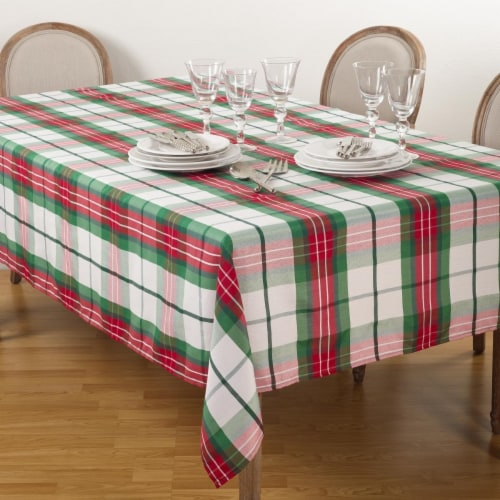 SARO 5002.M70140B 70 x 140 in. Rectangle Vernor Plaid Design Holiday Tablecloth  Multi Color Perspective: front