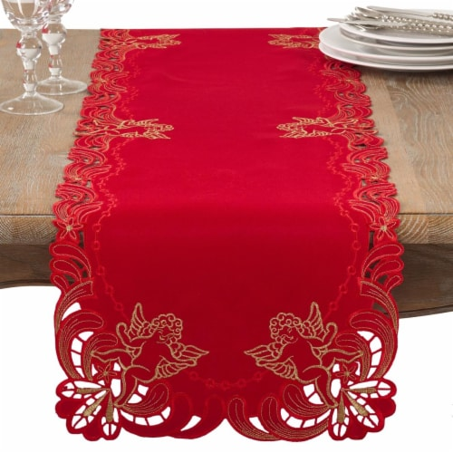 SARO 412.R1672B 16 x 72 in. Rectangle Embroidered Angel Cherub Design Christmas Table Runner Perspective: front