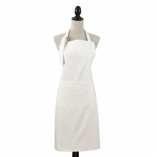 SARO 2443.W01 Classic Cuisine Denim Pocket Apron - White Perspective: front