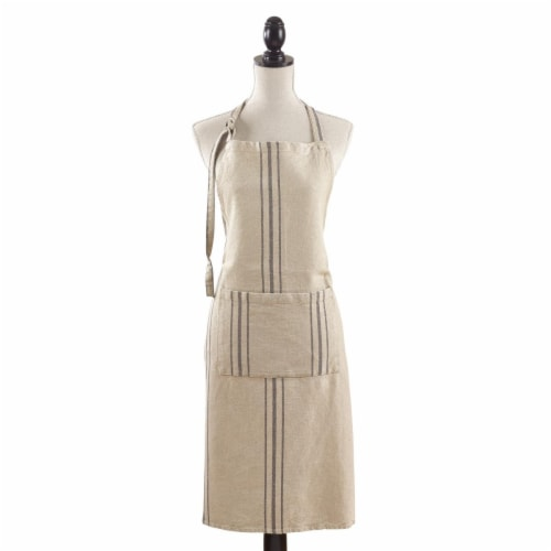 SARO 1117.N01 20 in. Classic Tie Striped Linen Apron - Natural Perspective: front