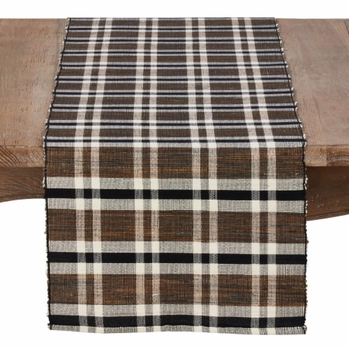 SARO 805.N1672B 16 x 72 in. Olivia Rectangle Water Hyacinth Table Runner with Plaid Woven Des Perspective: front