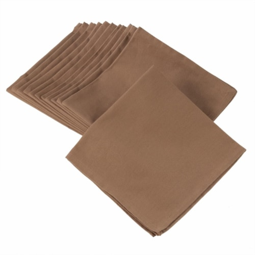 SARO 222.T20S 100 Percent Square Cotton Dinner Napkins  Taupe - Set of 12 Perspective: front