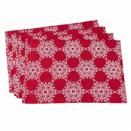 SARO 7346.R1319B 13 x 19 in. Rectangle Snowflake Design Table Placemat - Red  Set of 4 Perspective: front