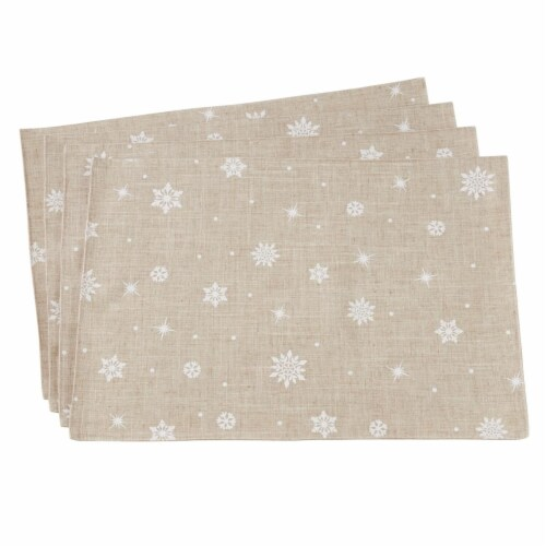 Saro Lifestyle 7352.N1319B 13 x 19 in. Rectangle Poly Blend Placemat with Snowflake Design Perspective: front