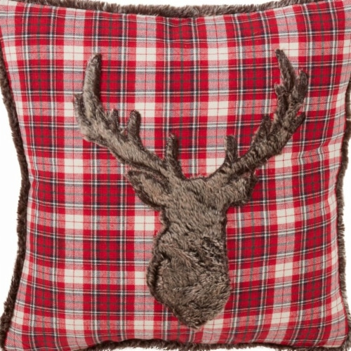SARO 1026.R18S Faux Fur Plaid Christmas Down Filled Throw Pillow - Red Perspective: front