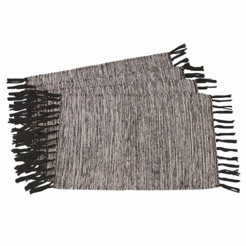 Saro Lifestyle 2432.BK1420B Rustic Woven Cotton Placemats, Black - Set of 4 Perspective: front