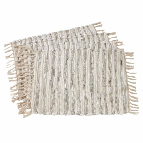 SARO 2129.S1420B Striped Leather & Cotton Chindi Placemats  Silver - Set of 4 Perspective: front