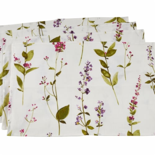 Saro Lifestyle Floral Design Linen Placemats, Off White - Set of 4 Perspective: front