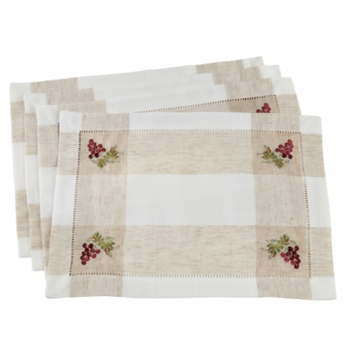 Saro Lifestyle 2230.I1419B Hemstitch Placemats with Embroidered Grape Design, Ivory Set of 4 Perspective: front