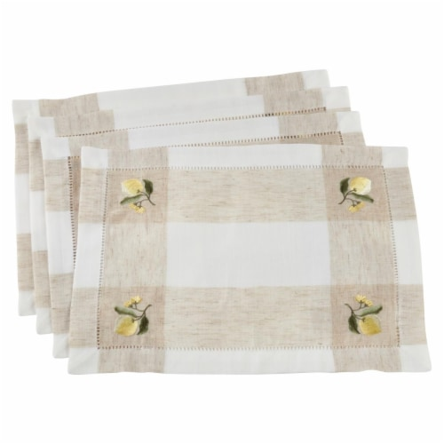 Saro Lifestyle 2232.I1419B Hemstitch Placemats with Embroidered Lemon Design, Ivory Set of 4 Perspective: front