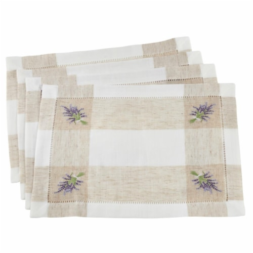 Saro Lifestyle Hemstitch Placemats with Embroidered Lavender Design, Ivory - Set Perspective: front
