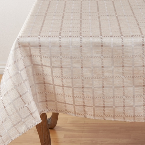Saro Lifestyle 6070.KH70S 70 in. Square Box Check Design Tablecloth - Khaki Perspective: front