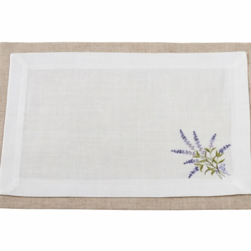 Saro Lifestyle 1984.I1420B 14 x 20in. Rectangular 2 Lyr Placemats w Lavender Design Set of 4 Perspective: front