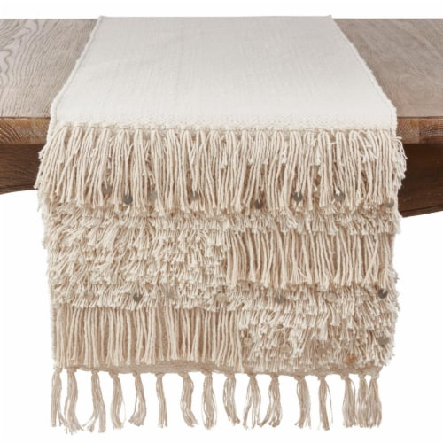 SARO 3202.S1672B Cotton Table Runner Cloth with Sequin Moroccan Design  Silver Perspective: front