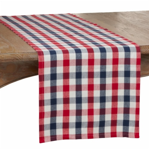 SARO 9023.M1672B 16 x 72 in. Oblong Gingham Check Cotton Table Runner Perspective: front