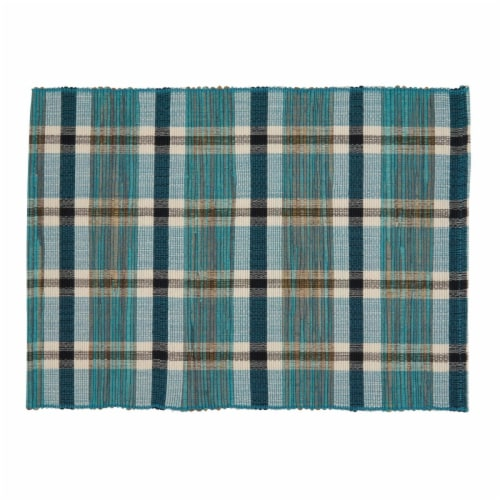 Saro Lifestyle 805.TQ1420B 14 x 20 in. Oblong Water Hyacinth Placemats with Turquoise Plaid Perspective: front