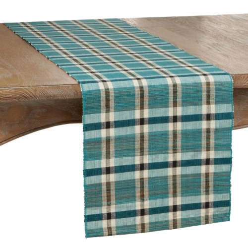 SARO 805.TQ1472B 14 x 72 in. Oblong Table Runner with Turquoise Plaid Woven Water Hyacinth De Perspective: front