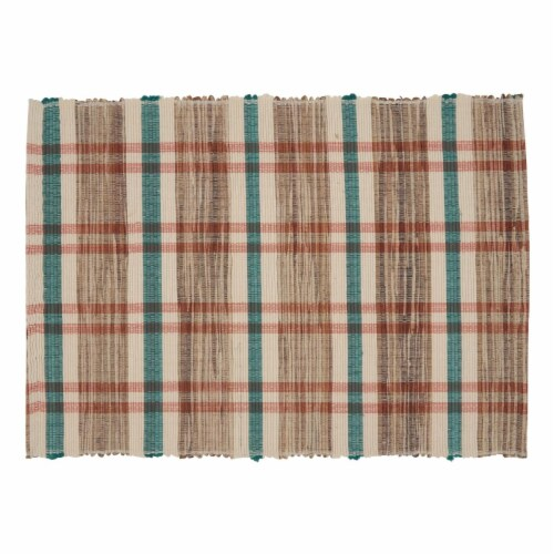 SARO 805.M1420B 14 x 20 in. Oblong Water Hyacinth Placemats with Plaid Woven Design - Set of Perspective: front