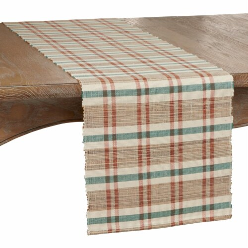 SARO 805.M1472B 14 x 72 in. Oblong Table Runner with Plaid Woven Water Hyacinth Design Perspective: front