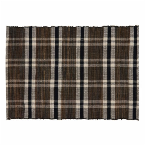 SARO 805.N1420B 14 x 20 in. Oblong Water Hyacinth Placemats with Plaid Woven Design - Set of Perspective: front
