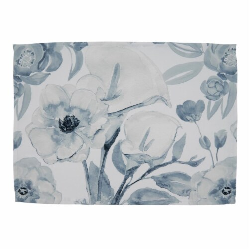 SARO 4668.BG1420B 14 x 20 in. Oblong Watercolor Floral Design Large Placemats - Set of 4 Perspective: front