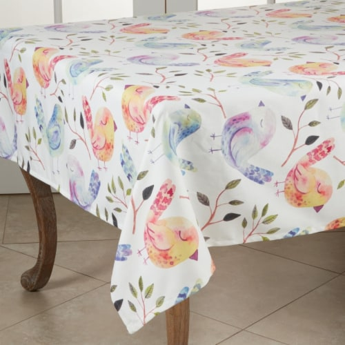 SARO 2119.M55S 55 in. Square Flock of Birds Design Tablecloth Perspective: front