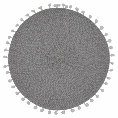 Saro Lifestyle 15 in. Round Pom Pom Design Placemats, Grey - Set of 4 Perspective: front