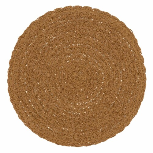 Saro Lifestyle 15 in. Round Paper Placemats with Woven Design, Caramel - Set of 4 Perspective: front