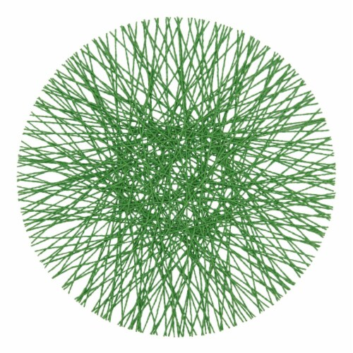 Saro Lifestyle 15 in. Round Paper Placemats with Straw Design, Kelly Green-Set of 4 Perspective: front