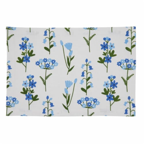 SARO 624.BL1420B 14 x 20 in. Oblong Cotton Placemats with Blue Floral Design - Set of 4 Perspective: front