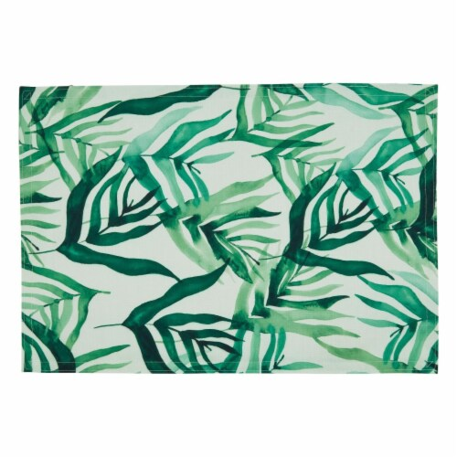 Saro Lifestyle 8819.G1319B 13 x 19 in. Oblong Rainforest Design Table Mats, Green - Set of 4 Perspective: front